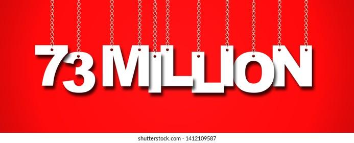 73 MILLION word hanging on Chain. 3d illustration