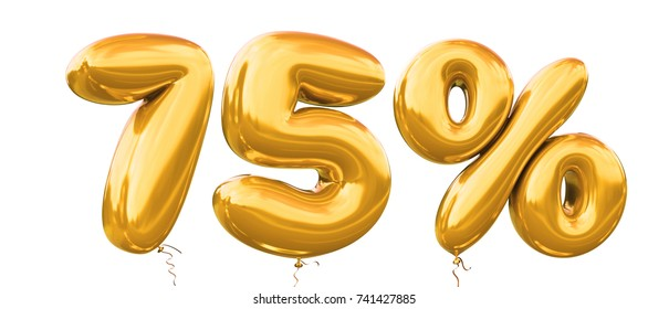 75% off discount promotion sale made of realistic 3d gold helium balloons. Illustration of balloon percent discount collection for your unique selling poster,banner ads ; Christmas, Xmas sale and more