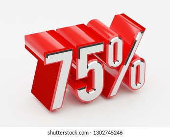 75%, 75 percent glossy red thick symbol 3D render