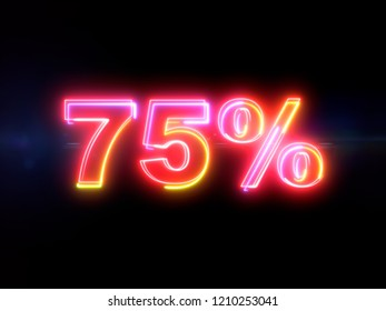 75 percent sign - colorful glowing outline alphabet symbol on blue lens flare dark background