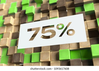 75% Symbol on the Wood Pattern With Green Dots on Background. 3D Illustration of 75% Symbol Sale, Seventy-Five Percent Off Symbol for Wallpapers and Abstract Backgrounds.