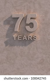 75 years 3d text with shadow and copy space