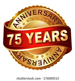 75 years anniversary golden  label with ribbon.