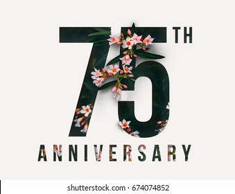 75th Anniversary Celebrate Illustration Design By Real Flowers With Precious Paper Cut For Your Unique