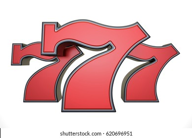 777 jackpot symbol, 3D rendering isolated on white background