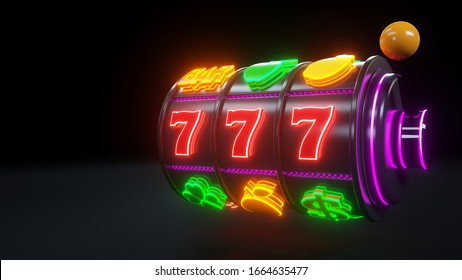 777 Slot Machine With Fruit Icons. Jackpot And Fortune. Casino Gambling Concept With Neon Lights - 3D Illustration