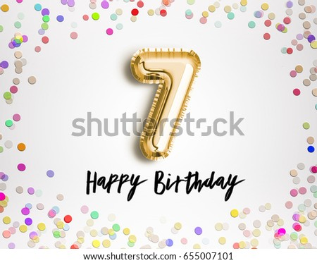 7th Birthday Celebration With Gold Balloons And Colorful Confetti Glitters Illustration Design For Your