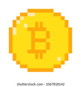 8 bit pixel art bitcoin icon. Color concept of cryptocurrency.