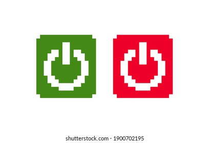 8 bit pixel power button. launching. red and green button. white background. isolated object. illustration