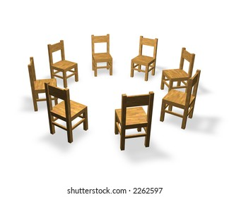 8 chairs are located in the circle