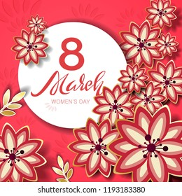 The 8 March day greeting card with flowers.