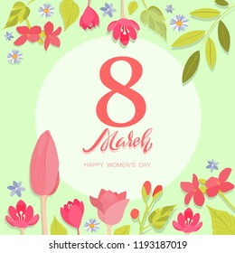 8 March Day. Happy Women's Day greeting card.