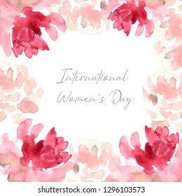 8 March, Happy International Women's Day, spring.Watercolor flower pink rose. Wedding concept with flowers. Floral poster, invite. Watercolor arrangements for greeting card or invitation design