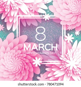 8 March. Happy Mother's Day. Pink Paper cut Floral Greeting card. Origami flower holiday background. Square Frame, space for text. Happy Women's Day. Trendy Design Template.  illustration