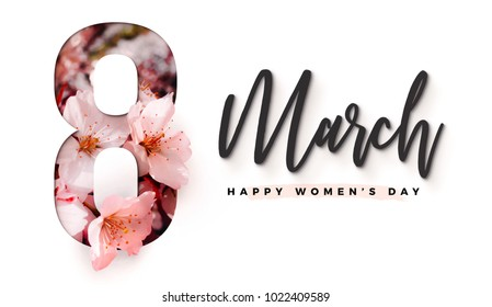 8 March happy women's day Brilliant poster, greeting card. Precious Paper cut with Real sakura or cherry blossom flowers for your unique International Women's Day design artwork on card, poster, flyer