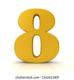 8 number eight golden 3d rendering sign isolated on white background