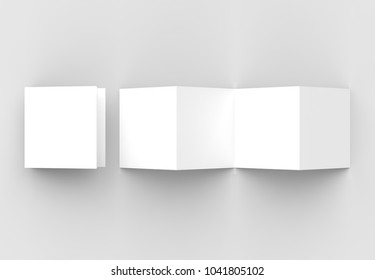 8 page leaflet, 4 panel accordion fold square brochure mock up isolated on light gray background. 3D illustrating