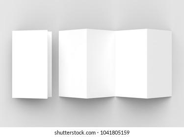 8 page leaflet, 4 panel accordion fold vertical brochure mock up isolated on light gray background. 3D illustrating