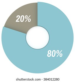 80 20 percent blue and grey pie chart isolated. Percentage infographics. 3d render circle diagram. Business illustration