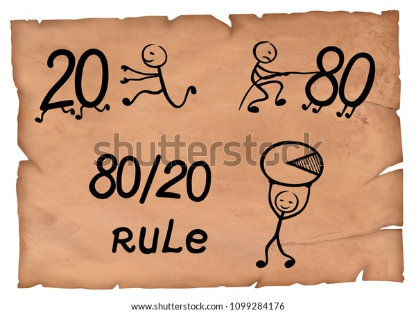 80 20 rule simple drawing which represents pareto principle on a parchment.