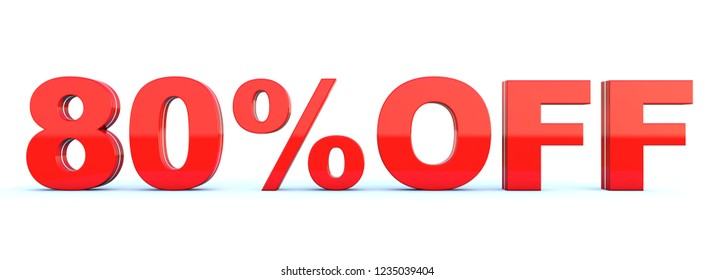 80 percent off discount - glossy red text on white background wide banner 3D render