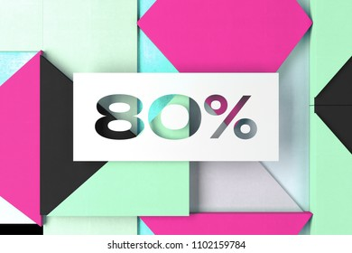 80% Symbol on Mint and Magenta Triangle Geometric Pattern. 3D Illustration of White 80% Symbol Sale, Eighty Percent Off Symbol on Blue Glitter Geometric Background.