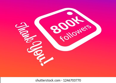 800000 Eight Hundred Thousand Followers, Thank You, Number, Colored Background, Concept Image, 3D Illustration