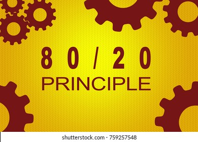 80/20 PRINCIPLE sign concept illustration with red gear wheel figures on yellow background