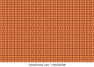 80s Orange Game Console Brick Wall Seamless Pattern.Old video game. retro style Background.3D Render illustration.
