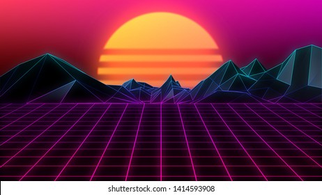 80s Retro Background, Grid terrain and sunset in retro style