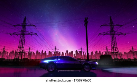 80s retro country drive with vintage car. Stylized rural landscape in outrun VJ style, night sky and a city. Vaporwave 3D illustration background for music video, DJ set, clubs, EDM music