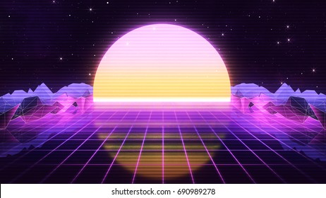 80s Retro Futurism Background