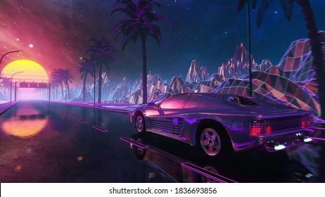 80s retro futuristic drive with vintage car. Stylized sci-fi landscape race in outrun VJ style, night sky. Vaporwave 3D illustration background for EDM music video, DJ set, club. 4k