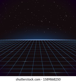 80s Retro Sci-Fi Background with Lightnings. Futuristic synth retro wave illustration in 1980s posters style. Suitable for any print design in 80s style