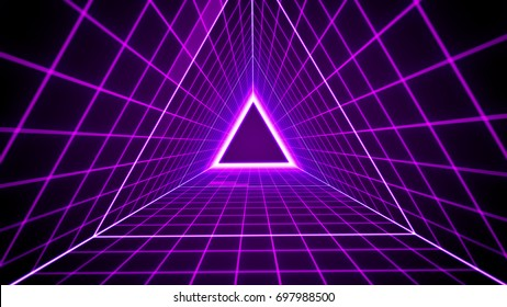 80's retro style background with triangle grid lights.