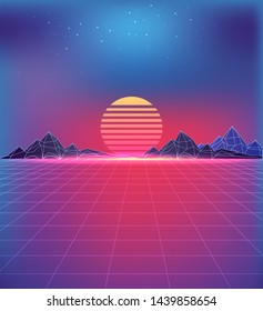 80s style backdrop with cosmic motifs. grid texture huge sun between rocky mountains under starry sky in pink and purple colors raster illustration.