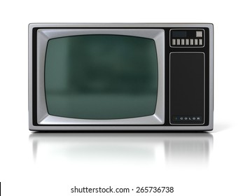 80s Vintage Portable Television Set (Color TV) Isolated on White Background. 3D Illustration