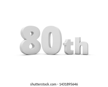 80th Anniversary. 3D Rendering Illustration Isolated On White Background.