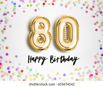 80th Birthday celebration with gold balloons and colorful confetti glitters. 3d Illustration design for your greeting card, birthday invitation and Celebration party of eighty years anniversary