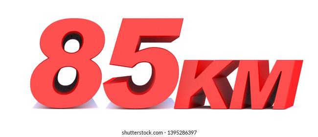 85 km. 85 kilometer word on white background. 3d illustration