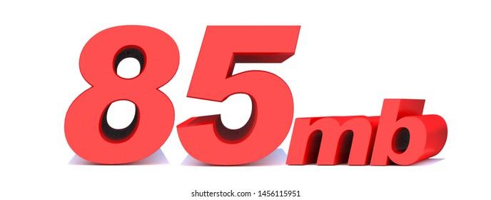 85 mb .85 Mbps word on white background. 3D illustration