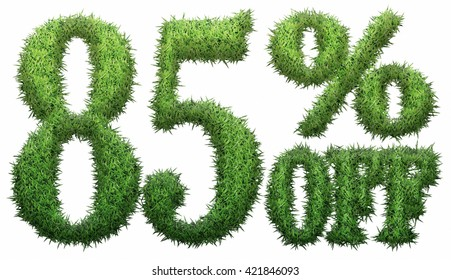 85% off. Made of grass. Isolated on a white background. 3D rendering