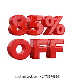 85% off on white background, special offer, great offer, sale. eighty five Percent Off Promotional Advertising Banner, Label and Tag. 3D illustration