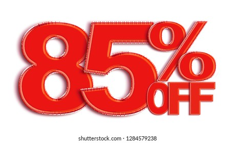 85 Percent off 3d Sign on White Background, Special Offer 85% Discount Tag, Sale Up to 85 Percent Off,big offer, Sale, Special Offer Label, Sticker, Tag, Banner, Advertising, offer Icon