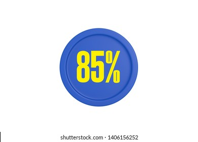 85 percent in yellow color text with blue circle isolated on white background, 3d illustration.