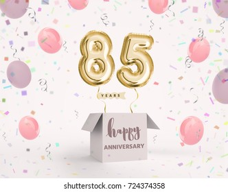 85 years anniversary, happy birthday joy celebration. 3d Illustration with brilliant gold balloons delight confetti for your unique greeting card, banner, birthday invitation, celebrate anniversary.
