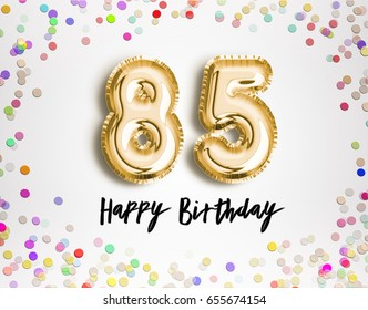 85th Birthday celebration with gold balloons and colorful confetti glitters. 3d Illustration design for your greeting card, birthday invitation and Celebration party of eighty five years anniversary