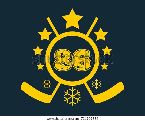 86 number illustration. Classic style Sport Team font. Numbers decorated by lines and dots pattern. Ice Hockey Emblem