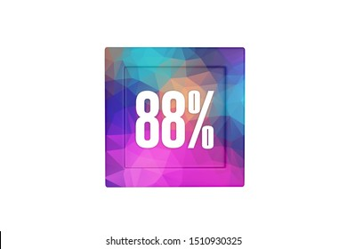 88 percent with three-dimensional modern pattern isolated on white color background, 3d illustration.