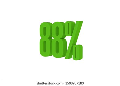88 percent three-dimensional render in green color isolated on white color background, 3d illustration.